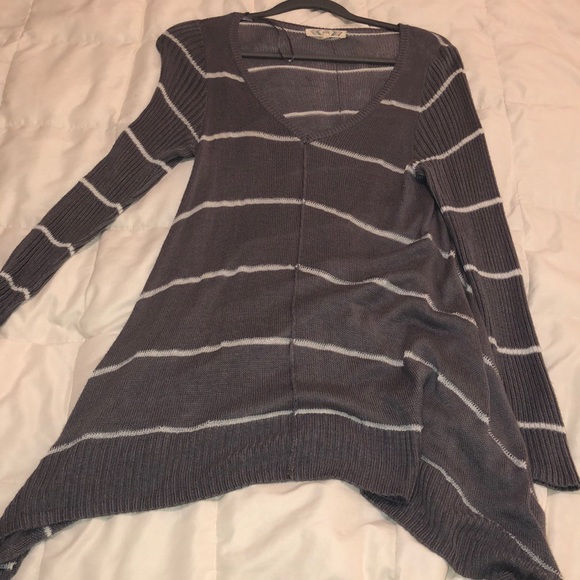 Pink Rose Sweaters - Grey and Cream Stripe Sweater Hi-low on sides